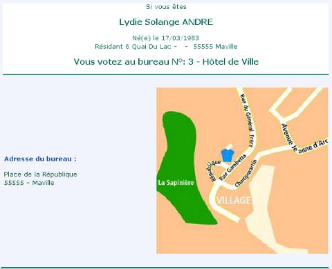 Affichage du plan du bureau de vote