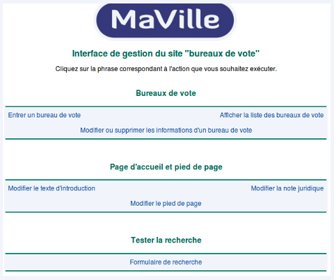 Interface de gestion