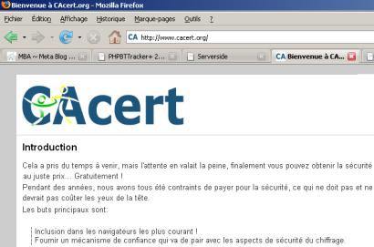 Le site web de CaCert